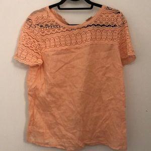Lace shirt shelve linen shirt
